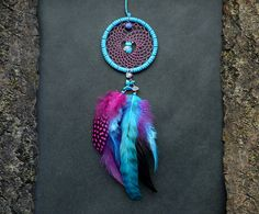 Dreamcatcher rear view mirror charm purple blue feather decoration hippie bohemian accessory with turquoise and quartz gemstones