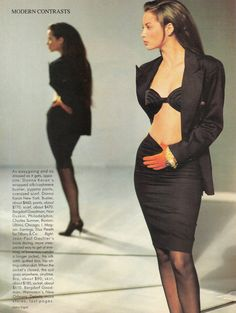 US Vogue March 1987  Modern Contrasts: More/Less - New Daytime Choices  Photo Arthur Elgort Models Christy Turlington & Stephanie Seymour