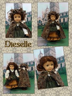 "Dieselle ""the Alchemist"" Steampunk custom AG doll/w/wardrobe -  The Kinsale paisley print cloak is made of brown paisley print suedecloth and fully lined in wheat colored satin, by cupcakecutiepie on Etsy $511.00"