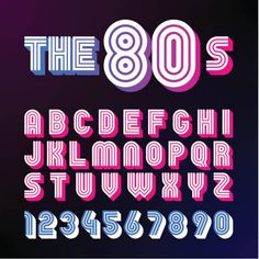 Eighties style retro font. font design with shadow, disco style, alphabet and Alphabet Templates, Alphabet Design, 1980s Font, Police Logo, Vaporwave, Aesthetic Fonts, Letras Cool, Typographie Fonts, Eighties Style