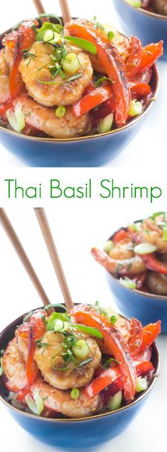 Thai Basil Shrimp - A quick and easy stir-fry recipe, Thai Basil Shrimp is full of flavor and ready in just 15 minutes. Perfect for busy weeknights!