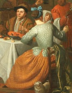 "1719. Detail of ""Diners on a Terrace"" by Jan Joseph Horemans the Elder. She wears a quilted jacket and a quilted petticoat, but she's not cold enough to wear a cap, she only has a ribbon on her head."