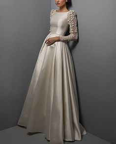 Chana Marelus Silk w/ Sequinned Puff Appliqué Sleeves Modest Wedding Dresses, Trendy Dresses, Designer Wedding Dresses, Bridal Dresses, Prom Dresses, Abaya Fashion, Fashion Dresses, Party Wear Indian Dresses, Wedding Dress Gallery