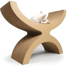Recycled cardboard furniture and accessories for cats