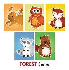 Children's Art. Forest animal prints. Woodland nursery art. Set of Any 3 5x7 Forest Series Prints.. $39.00, via Etsy.