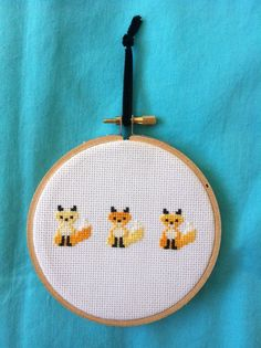 Items similar to Yellow Trio of Gradient Foxes Cross Stitch on Etsy Mini Cross Stitch, Cross Stitch Needles, Cross Stitch Animals, Counted Cross Stitch Patterns, Cross Stitch Embroidery, Fox Pattern, Perler Patterns, Cross Stitching, Needlepoint