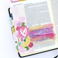 mixed media tutorial clear embossing stamp resist watercolor by Heather Greenwood Scripture Doodle, Bible Art, Bible Study Journal, Art Journaling, Journal Art, Journal Ideas, Corinthians Bible, Faith Bible, Bible Scriptures