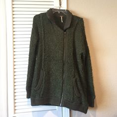 Free people shaggy zip up jacket Super fun green textured knit zip up sweater/jacket. Ribbed pocket trim and hems and collar. Super soft. Free People Sweaters