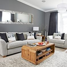 Lounge room ideas chic grey living room with clean lines home sweet home living room grey . Cozy Living Rooms, Living Room Paint, Living Room Grey, Living Room Interior, Home Living Room, Apartment Living, Grey Room, Cozy Apartment, Living Room Ideas New Build