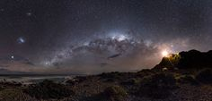 "Guiding LIght to the Stars. (Image: Mark Gee) Winner of the Astronomy Photographer of the Year 2013. Taken at Cape Palliser, NZ, on the right, a lighthouse. In the center, the Milky Way arching over the sky. To the left, the two nebulous figures are the Large and Small Magellanic Clouds - satellite galaxies of the Milky Way. Mona Evans, ""Astronomy Photographer of the Year 2013"" http://www.bellaonline.com/articles/art181754.asp"