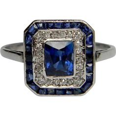 Art Deco Sapphire & Diamond Target Panel Ring from DBGems at RubyLane.com
