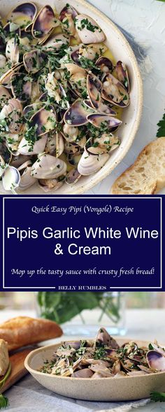 Pipis with Garlic White Wine Cream Sauce is the perfect dish for entertaining or a little easy indulgence. Serve with crusty fresh bread to mop up the delicious sauce.