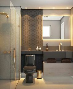 There's no better way to add a sophisticated touch to your bathroom than with a modern bathroom vanity. A modern bathroom vanity will make an ordinary house look classy and modern, thanks to how it impacts the look and feel of the bathroom. Bathroom Layout, Modern Bathroom Design, Bathroom Interior Design, Decor Interior Design, Bathroom Ideas, Bathroom Designs, Modern Design, Bathroom Plans, Bath Ideas