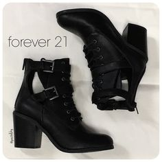 """F21 combat boots PRELOVED in good condition, worn only a few times. laced, strapped with open sides and zipperd back.  details ∙ size 5.5 ∙ 3"""" heels  materials ∙ faux leather  due to lighting- color of actual item may vary from photos.  please don't hesitate to ask questions. happy POSHing    price firm unless bundled  i do not trade or take any transactions off poshmark Forever 21 Shoes Combat & Moto Boots"""
