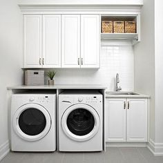 White Modern Laundry Room with Gray Staggered Floor Tiles, Modern, Laundry Room