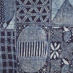 ADIRE CLOTH Casava paste resist indigo-dyed cotton woman's wrapper Nigeriac.1950  source:joss graham