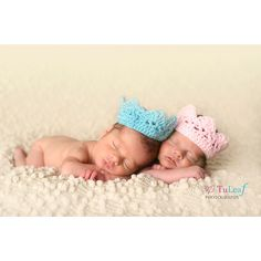 Newborn Crowns Boy and Girl Crochet Twins Photo Prop Set of Two ($14) ❤ liked on Polyvore featuring babies, kids, twins, little ones and people