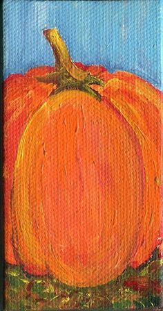 Pumpkin Original  mini painting on Canvas with by SharonFosterArt, $16.00