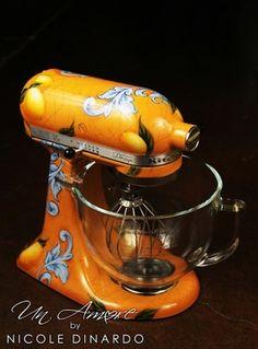 Tuscan Lemon themed Mixer Artisan Mixer Included - Un Amore Custom Designs Artisan Mixer, Large Scale Art, Great Christmas Presents, Christmas Ideas, Tuscan Design, Mediterranean Home Decor, Elements Of Design, Kitchen Aid Mixer, Custom Paint