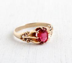 Antique Victorian 10K Gold Garnet Ring - Size 10 Edwardian Late 1800s Early 1900s Fine Jewelry / Artistic Swirls