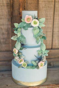 Blue Fondant Wedding Cake with Sugar Flowers. Photo by Katie Jackson Photography