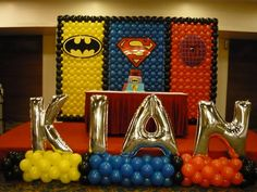 Super-Hero Birthday Decoration by bubbly balloons... Superhero Balloons, Baby Superhero, Avengers Birthday, Superhero Birthday Party, Balloon Decorations, Birthday Decorations, Balloon Wall, Baby Party, Customer Appreciation