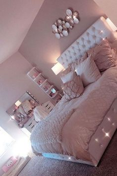 Lovely Pink Bedroom Design Ideas That Inspire You The pink bedroom looks amazing that most of us use the color for the nursery room, girl's room, and others. Read Lovely Pink Bedroom Design Ideas That Inspire You Pink Bedroom Design, Teen Bedroom Designs, Bedroom Decor For Teen Girls, Teen Room Decor, Room Ideas Bedroom, Diy Bedroom Decor, Nursery Room, Bed Room, Shabby Bedroom