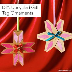 Repurpose your extra gift tags and wrapping supplies to create these fun ornaments to adorn your Christmas tree!
