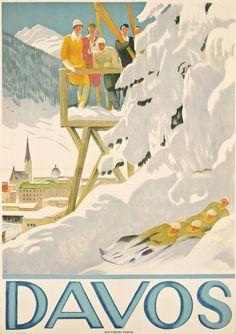 Vintage Art Deco Davos Wolfsberg-Zurich Ski Poster 13 x 19 Giclee Print Davos, Ski Posters, Railway Posters, Retro, Art Deco, Ski Holidays, Museum, Japanese Graphic Design, Ski Chalet