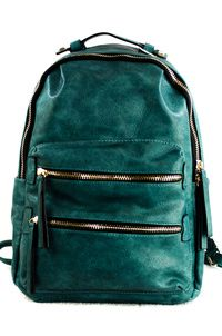 Solid Double Zipper Pocket Backpack
