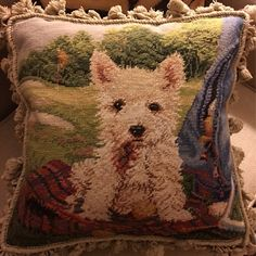 Excited to share this item from my shop: Beautiful West Highland Terrier Puppy Dog Needlepoint Pillow With Golf Motif and Gucci Plaid West Highland Terrier Puppy, Baby Puppies, Dogs And Puppies, Maltese Puppies, Gucci Fabric, Baby Animals, Cute Animals, Classic Pillows