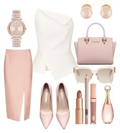 """""""Get Nude"""" by missfancyfrance on Polyvore featuring Roland Mouret, Michael Kors, C/MEO COLLECTIVE, Kenneth Jay Lane, Christian Dior and Dolce Vita"""