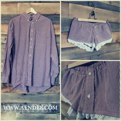AENDEE's upcycled shirt > sleeper shorts!  Bring or send your boyfriend, husband, or partner's old button down in to be transformed into adorable pj shorts.  www.aendee.com