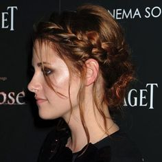 Kristen Stewart with plait hairstyle