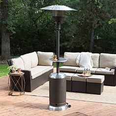 Red Ember Red Ember Mocha U0026 Stainless Steel Commercial Patio Heater With  Table, Silver