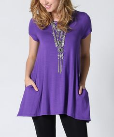 Look what I found on #zulily! Purple Side-Pocket Swing Tunic #zulilyfinds