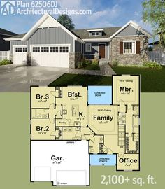 1 STORY X 2160 SF Architectural Designs Bungalow House Plan 3 beds, baths and over square feet of living on one floor. Ready when you are. Where do YOU want to build? Bungalow House Plans, Ranch House Plans, Craftsman House Plans, New House Plans, Dream House Plans, Small House Plans, House Floor Plans, My Dream Home, Craftsman Homes