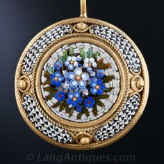 19th Century Roman Micro-Mosaic Forget-me-not Flower Vermeil Earrings