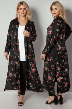 Plus Size Shirts YOURS LONDON Black & Red Floral Print Maxi Shirt