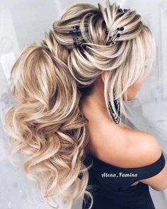 hair boho hair to side hair short updos hair styles medium length hair wedding hair updos hair styles for short hair hair flower hair veil Wedding Ponytail, Wedding Hair Clips, Bridal Hair Pins, Wedding Rings, Latest Hairstyles, Braided Hairstyles, Wedding Hairstyles, Braided Updo, Medium Hair Styles