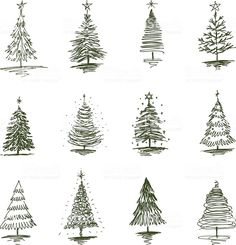The vector drawing of a christmas trees in style of a sketch. Christmas Tree Sketch, Funny Christmas Tree, Christmas Doodles, Christmas Tree Painting, Christmas Drawing, Christmas Mood, Vector Christmas, Xmas, Holiday