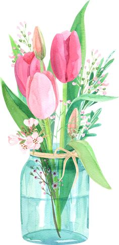 tulips in the jar Framed Art Print by Anyuka - Vector Black - MEDIUM Watercolor Cards, Watercolor Illustration, Watercolour Painting, Watercolor Flowers, Watercolors, Art Floral, Jar Art, Framed Art Prints, Flower Art
