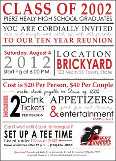 Reunion Invitation Wording Class Reunion Invitation Wording Reunion Wording Ideas, High School Reunion Wording Ideas And Tips, High School Reunion Wording Ideas And Tips, 10 Year Reunion, High School Class Reunion, High School Classes, Class Reunion Invitations, School Reunion Decorations, Invitation Wording, Invites, Invitation Ideas, Wedding Invitation