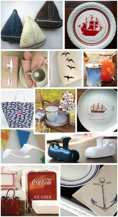 Love the felt boats...the red ship plate...planning a boys birthday...ideas abound!