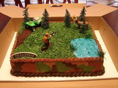 Hunting Themed Cake I want this for nicks grooms cake it's perfect it even has his name on it . Hunting Themed Cake I want this for nicks grooms cake it's Birthday Cakes For Men, Fish Cake Birthday, Cakes For Boys, Birthday Ideas, 4th Birthday, Birthday Crafts, Camo Cakes, Deer Cakes, Bike Cakes