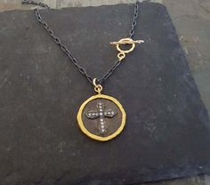 Gold Black Coin Cross Necklace Oxidized Sterling Silver by ViaLove