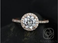 Rosados Box Kubian 7mm 14kt Rose Gold Round FB Moissanite and Diamonds Halo Engagement Ring