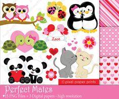 Perfect Mates - Digital paper and clip art set - Valentine's day clip art