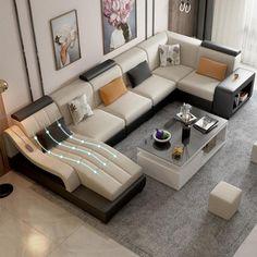 Corner Sofa Design, Sofa Bed Design, Living Room Sofa Design, Home Room Design, Sofa For Living Room, Corner Sofa Set, Spacious Living Room, Living Room Tv Unit Designs, Sofa Styling