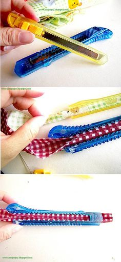 Bias Tape Maker is this not amazingly simple? I wonder if there is something wider in my house that I can find to use.